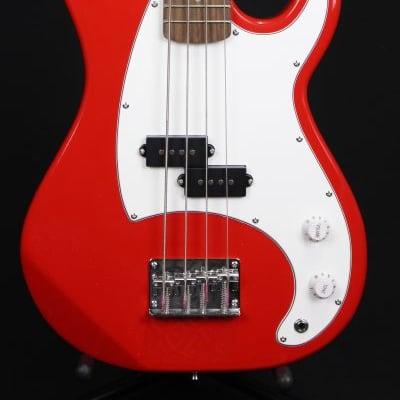 J. Reynolds JR9R Single Cutaway 7/8 Size 4-String Electric Bass Guitar - Red for sale
