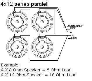 earcandy 4x10 4x12 guitar amp speaker cab wiring harness 4, 8 or 16 ohm  series parallel no soldering