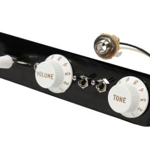 Fender Tele 3-way Control Plate P-Rails w/ 2 Toggles CRL Switch CTS Pots - Black