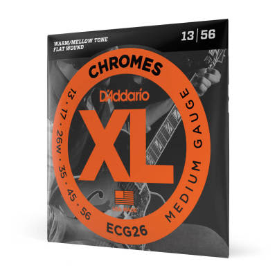 D'Addario ECG26 Chromes Flat Wound Medium Electric Guitar Strings, 13-56 Chrome