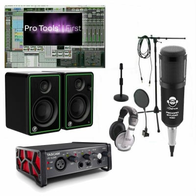 Home Studio Recording Bundle Mackie Monitors Tascam Interface w/ Pro Tools First