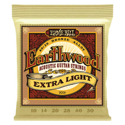 Ernie Ball Earthwood 80/20 Bronze Acoustic Guitar Strings - Extra Light (10-50)