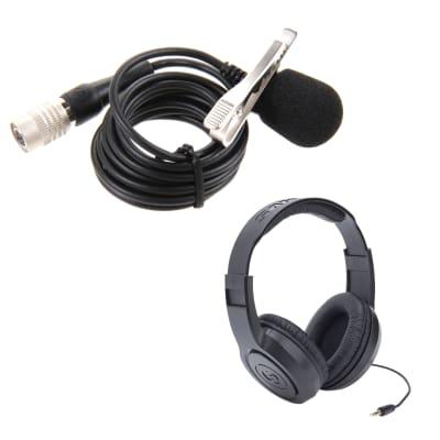 Audio-Technica AT829CW Cardioid Condenser Lavalier Microphone with Samson SR350 Headphones