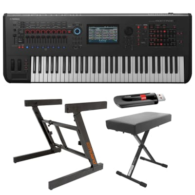 Yamaha Montage6 61-Key Flagship Music Synthesizer Workstation with Heavy Duty Z-Stand, Bench and Flash Drive
