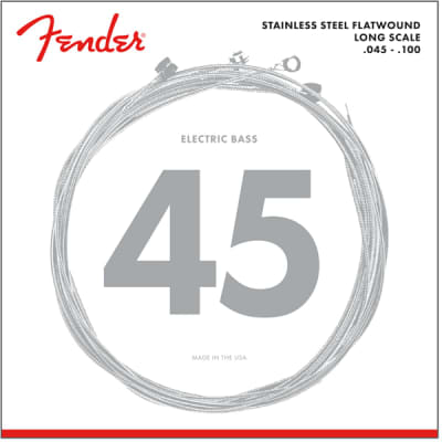 Fender Stainless 9050 Bass Strings Stainless Steel Flatwound 9050L .045-.100 (4)