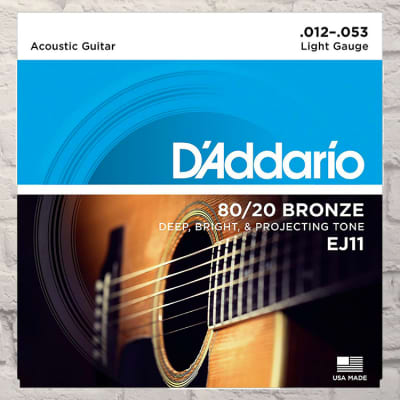 D'Addario EJ11 Light 80/20 Bronze Acoustic Strings 12-53