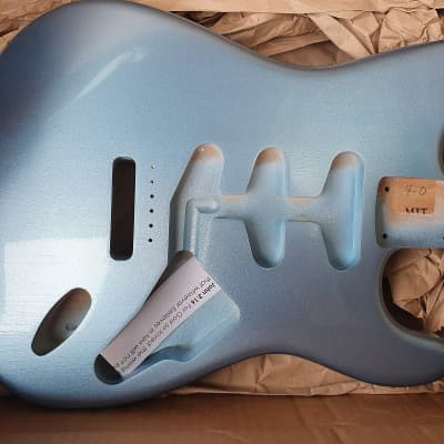 MJT One Piece Stratocaster Body 2019 Ice Blue Metallic for sale
