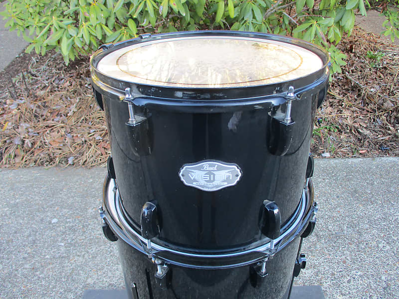 Pearl Vision Birch 13 X 10 Mounted Tom, Birch Shell, Gloss Black, ISS Mount  - Excellent!