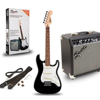 Squier Stratocaster Pack SSS Black w/ Gig Bag and Frontman 10G for sale