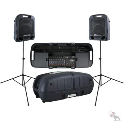 Peavey ESCORT 5000 500w Foldable Portable PA System Powered Speakers + Mixer + Case