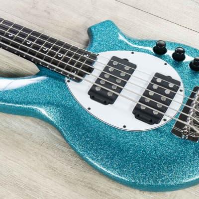 Ernie Ball Music Man Bongo 5 HH 5-String Bass, Aqua Sparkle, Matching Headstock