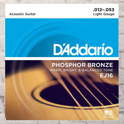 D'Addario EJ16 Light Phosphor Bronze Acoustic Strings 12-53