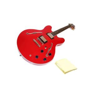 Oscar Schmidt OE30CH Classic Semi-Hollowbody Electric Guitar Bundle with Polishing Cloth - Cherry for sale