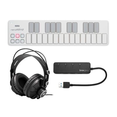 Korg nanoKEY 25-Key Slim-Line USB MIDI Controller (White) Bundle with Headphones