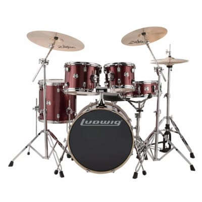 "Ludwig LCEE20025 Element Evolution 20"" 5-Piece Drum Set with Zildjian ZBT Cymbals, Wine Red Sparkle"