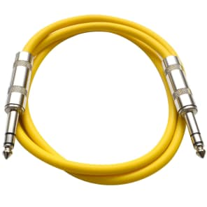 """Seismic Audio SATRX-3YELLOW 1/4"""" TRS Patch Cable - 3'"""