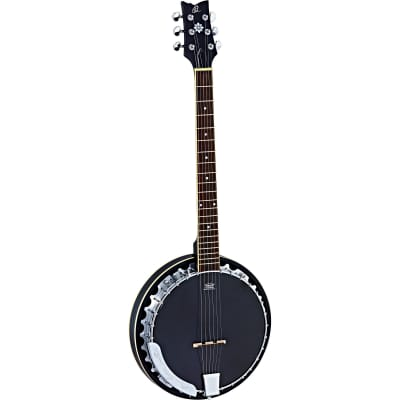 Ortega Raven Series OBJE350/6-SBK 6-String Banjo with Big Bag for sale