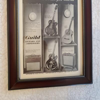 1962 Guild Guitars Promotional Ad Framed Starfire III, Stuart A-500, Classic Mark II, 98-RT Original