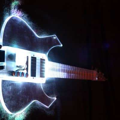 EQUESTER full acrylic electric guitar EGR concept , handmade, Merlin pickups + piezo for sale
