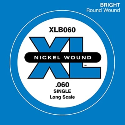 D'Addario XLB060 Nickel Wound Long Scale Single Bass Guitar String, .060