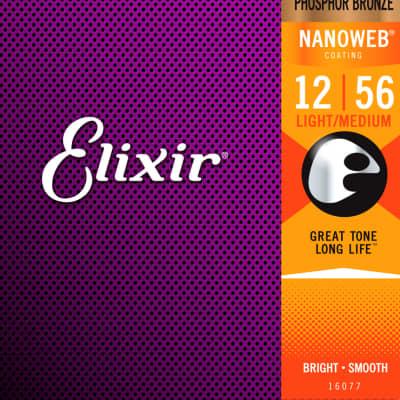 Elixir 16077 Nanoweb Phosphor Bronze Acoustic Guitar Strings - Light/Medium (12-56)