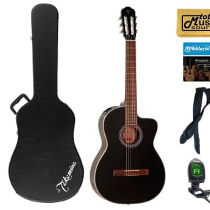 Takamine G Series GC1CE-BLK Acoustic-Electric Classical Guitar, Black Case Bundle for sale