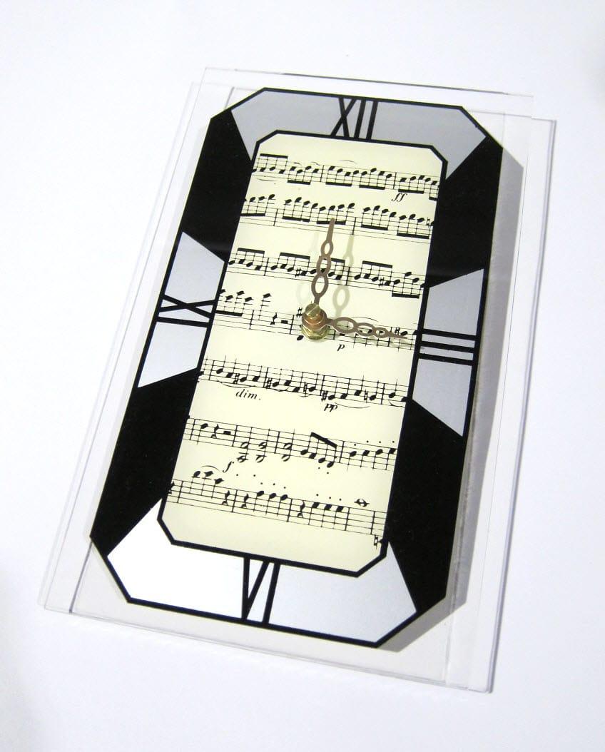 Art Deco Music Notes Wall Clock Gift Boxed Andreas