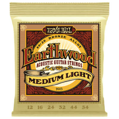 Ernie Ball Earthwood 80/20 Bronze Acoustic Guitar Strings - Medium Light (12-54)