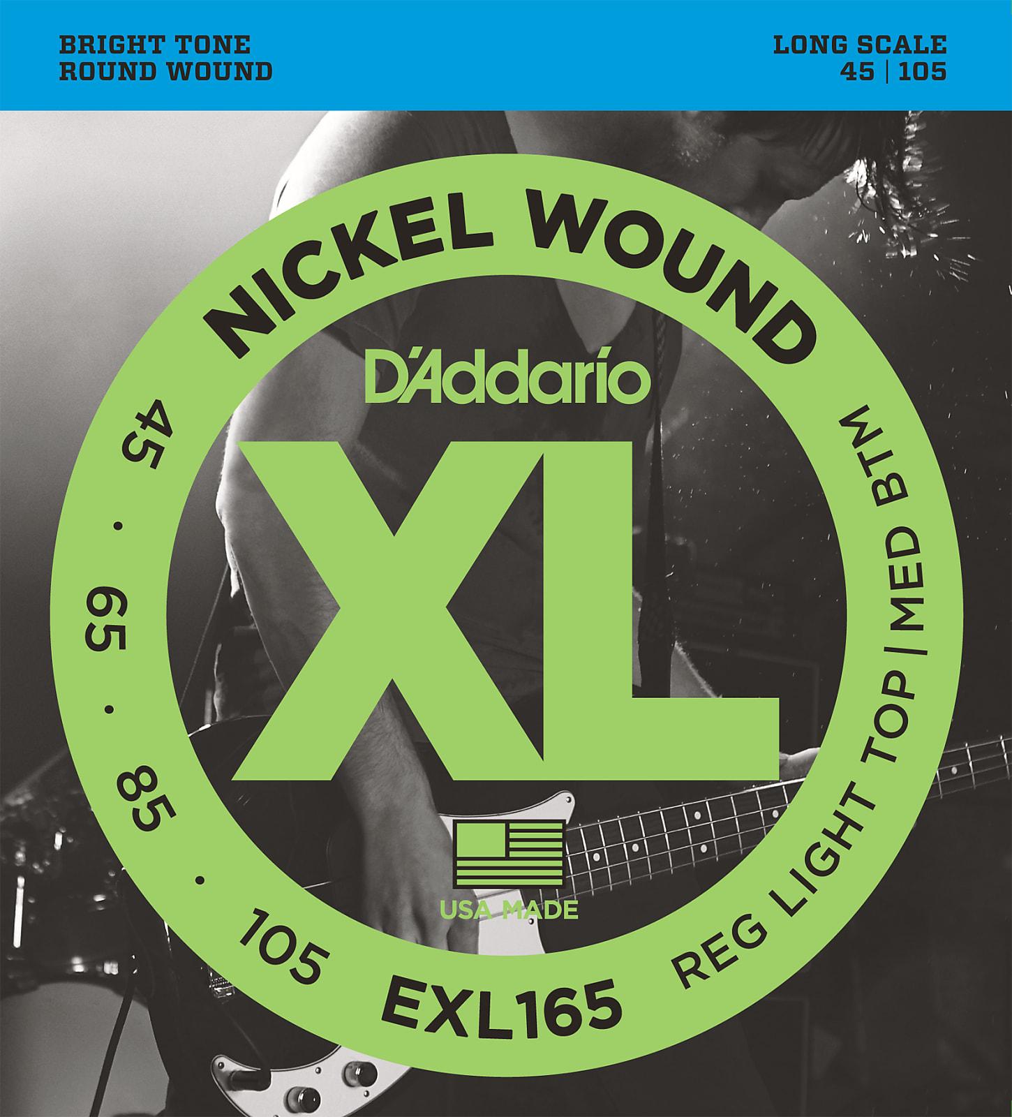 D'Addario EXL165 Nickel Wound Bass Guitar Strings, Custom Light, 45-105, Long S
