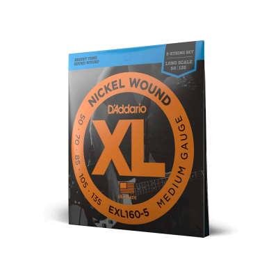 "D'Addario XL - Nickel Wound 5-String Electric Bass Strings - Medium (50-135) - Long Scale (34"")"