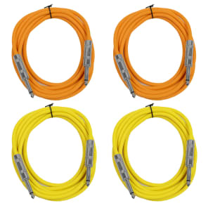 """Seismic Audio SASTSX-10-2ORANGE2YELLOW 1/4"""" TS Male to 1/4"""" TS Male Patch Cables - 10' (4-Pack)"""