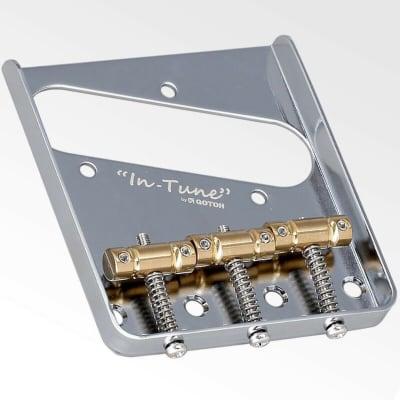 "NEW Gotoh BS-TC1 Tele Bridge, Brass ""In-Tune"" Saddle PAT-P space 10.8mm - CHROME"
