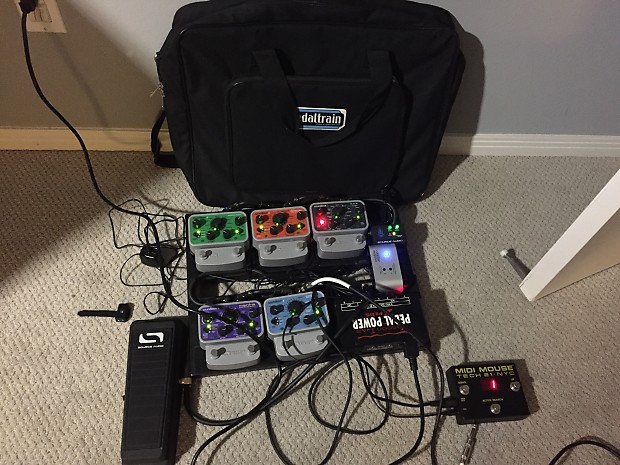 pedalboard with 5 source audio bass guitar effect pedals and reverb. Black Bedroom Furniture Sets. Home Design Ideas