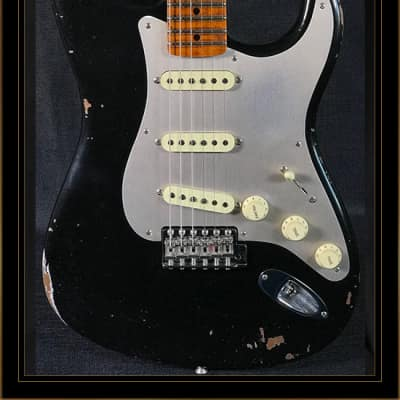 Fender Custom Shop Limited Edition Fat Roasted '56 Relic Stratocaster in Aged Black for sale