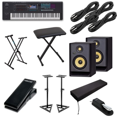 Roland FANTOM-7 - Keyboard Stand - Bench - Sustain Pedal - Nektar NX-P -Stretchable Dust Cover - KRK RP5G4 pair - Monitor Stand - (4) 1/4 Cables