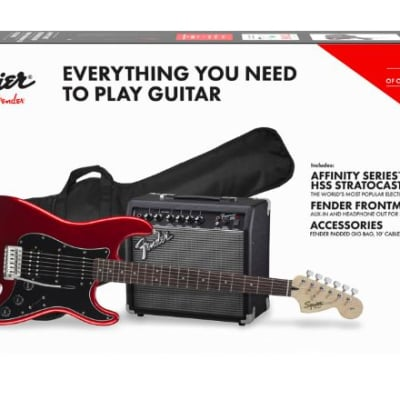 Affinity Series Stratocaster HSS Pack, Candy Apple Red, 120V Fender Frontman 3-Mo Sub to Fender Play
