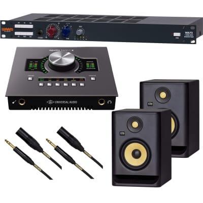 Warm Audio WA73 Single-Channel Microphone Preamp, Universal Audio Apollo X Duo HE, (2) KRK RP5G4 Monitor, (2) Mogami XLR to 1/4 Bundle