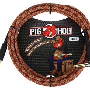 """Pig Hog PCH10CPR 1/4"""" TS Right-Angle to Straight Instrument/Guitar Cable - 10'"""