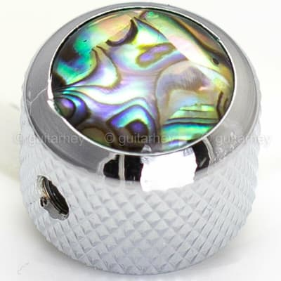 NEW (1) Q-Parts Guitar Knob CHROME with NATURAL ABALONE SHELL on Dome KCD-0005 for sale