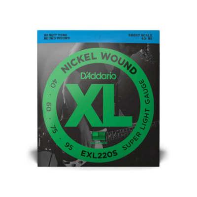 D'Addario EXL220S Nickel Wound Bass Guitar Strings, Super Light, 40-95, Short Scale