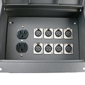 Elite Core Audio FBL8+AC Recessed Floor Box with 8 XLR Female Conectors, Duplex AC Power Outlet
