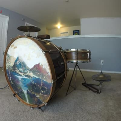 Vintage 1920's Ludwig Traps Drum Set with Low Boy Cymbals, Crash and Walberg & Auge Hardware