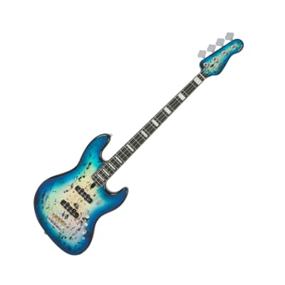 Spear SAJ-250 Hologram Blue Mahogany 4-Strings Electric Jazz Bass Unique Graphic for sale