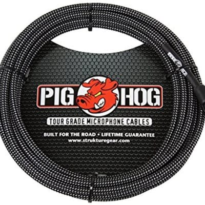 Pig Hog PHM20BKW Black & White Woven 20ft XLR Mic Cable