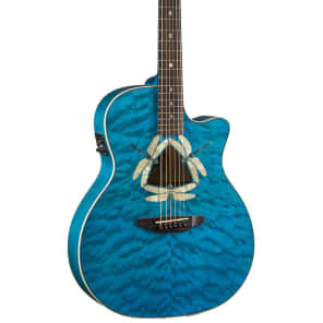 Luna Fauna Series Dragonfly Quilted Maple Cutaway Acoustic-Electric Guitar, FAU DF QM for sale