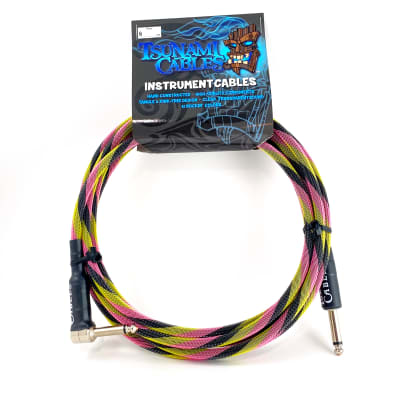 """Tsunami Cables 10' Handcrafted Premium Instrument Cable, 1/4"""" Straight-Right Angle, """"Hip Hop"""""""