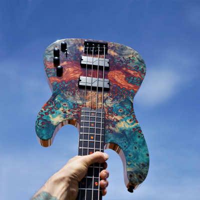Schecter USA Custom Shop Model-T Bass w/ Stabilized Buckeye Burl Top w/ Tolex Case (2021) for sale