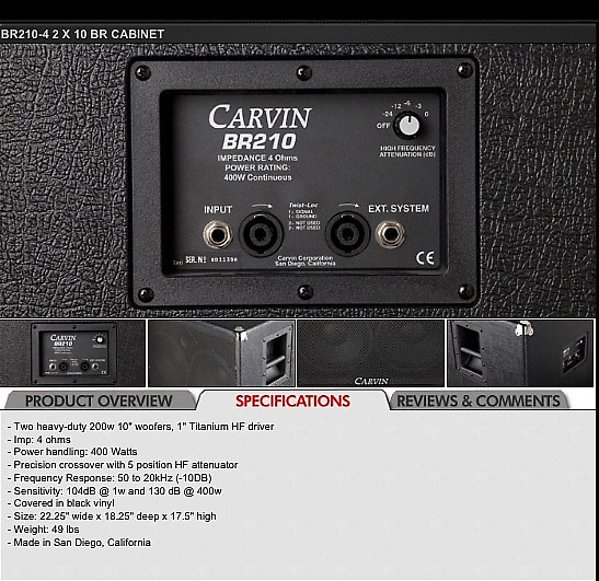 Carvin 2x10 Bass Cab Black RED LINE SERIES | Reverb
