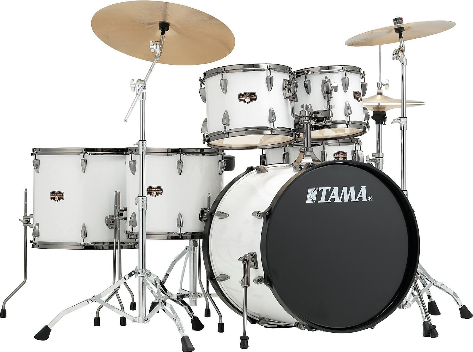Tama Imperialstar 6 Piece Drum Set With Cymbals Sugar White W Black