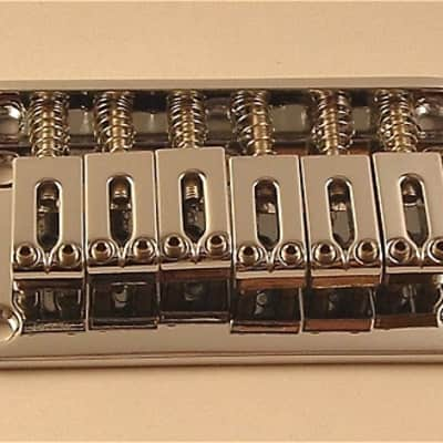 Guitar Parts 6 Saddle HARDTAIL BRIDGE - Top Load - CHROME